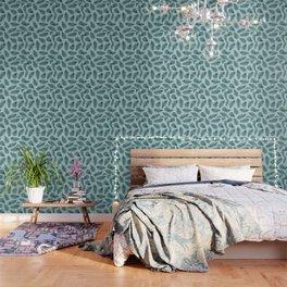 Blue fern garden botanical leaf illustration pattern Wallpaper