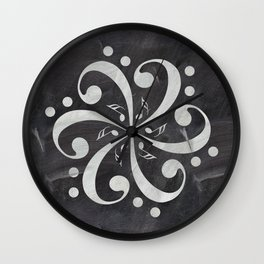 Music mandala on chalkboard Wall Clock