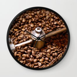 Freshly roasted coffee beans Wall Clock