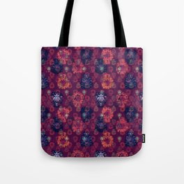 Lotus flower - fire on mulberry woodblock print style pattern Tote Bag