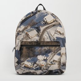 mountain village from the sky Backpack