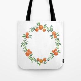 watercolor orange wreath Tote Bag
