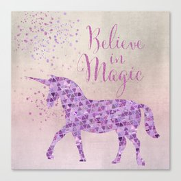 Pink and Purple Glamour Unicorn Believe in Magic Canvas Print