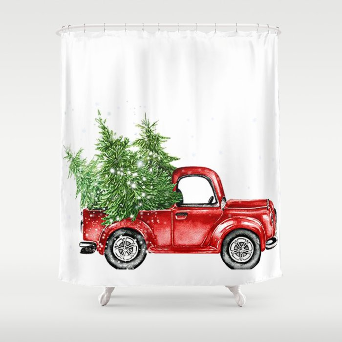 Christmas Trees In Red Truck Shower Curtain By