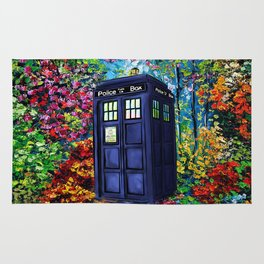 Tardis Flowers Painting Rug