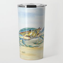 Colorful Blue Crab Travel Mug