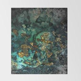 Gold Indigo Malachite Marble Throw Blanket