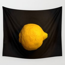 Yellow Lemon On A Black Background #decor #society6 Wall Tapestry
