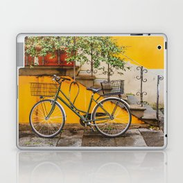 Bicycle Parked at Wall, Lucca, Italy Laptop & iPad Skin