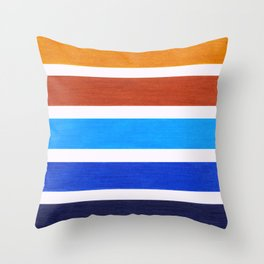 Blue & Brown Geometric Pattern Throw Pillow