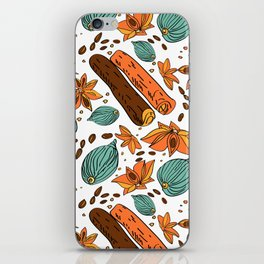 Spices. Pattern. Cinnamon, cardamom, nutmеgб coffee bean. iPhone Skin