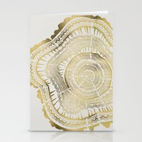bianca green Stationery Cards featuring Gold Tree Rings by Cat Coquillette