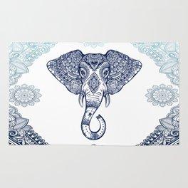 Bohemian Elephant Tribal Boho Gradient Blue Rug