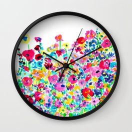 Flower Fields Pink Wall Clock