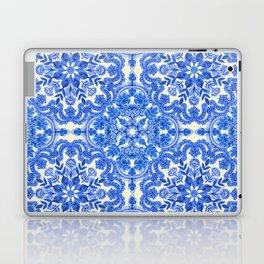 Cobalt Blue & China White Folk Art Pattern Laptop & iPad Skin