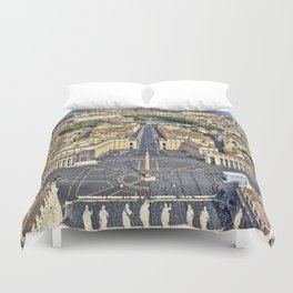 St Peter's Square in Rome, Italy Duvet Cover