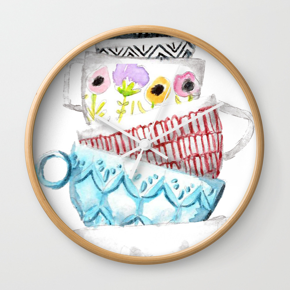 Cups On Cups On Cups Wall Clock by Hapticdrifter CLK8656197