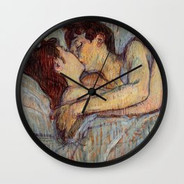 Henri Toulouse Lautrec 1882 The Kiss in Bed Wall Clock