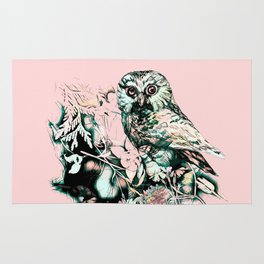 Spring owl on a pink background Rug