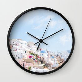 Pastel Colored View on Santorini Greece Wall Clock
