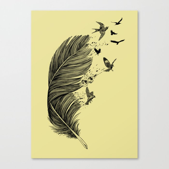 Feather Birds BW Canvas Print
