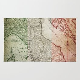Vintage Map of Italy Rug