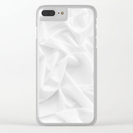 MINIMAL WHITE DRAPED TEXTILE Clear iPhone Case