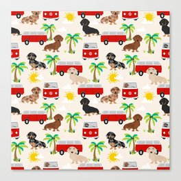 Dachshund Beach day palm tree summer dog cute dog pillow dog blanket beach towel Canvas Print