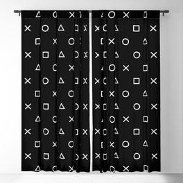 Gamer Pattern (White on Black) Blackout Curtain
