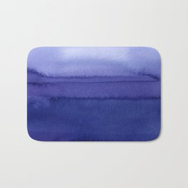 Blue Violet Watercolor Horizontal Stripes Abstract Bath Mat