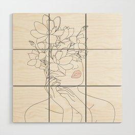 Minimal Line Art Woman with Magnolia Wood Wall Art