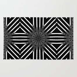 Tribal Black and White African-Inspired Pattern Rug