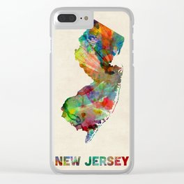 New Jersey Watercolor Map Clear iPhone Case