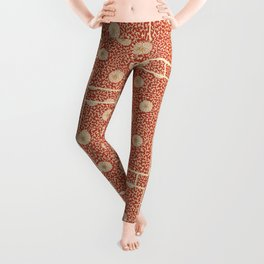 70's Red Floral Leggings