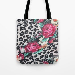 Vintage black white pink floral cheetah animal print Tote Bag