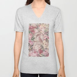 Romantic Flower Pattern And Birdcage Unisex V-Neck