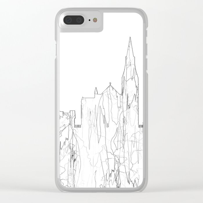 Galway, Ireland Skyline B&W - Thin Line Clear iPhone Case