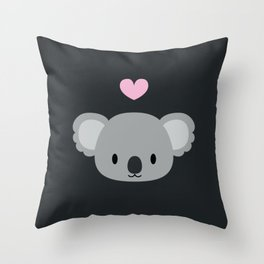Cute koalas and pink hearts Throw Pillow
