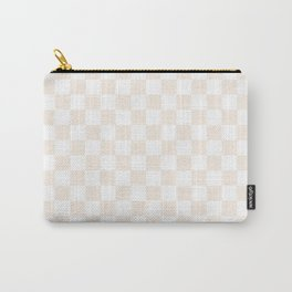 Small Checkered - White and Linen Carry-All Pouch
