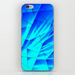 Bright sunshine on celestial and blue triangles of irregular shape. iPhone Skin