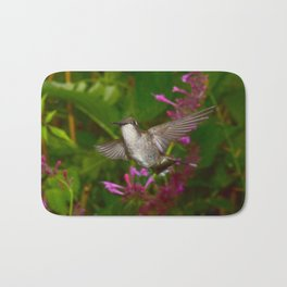 Hummingbird and pink agastache flower 44 Bath Mat