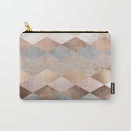 Copper and Blush Rose Gold Marble Argyle Carry-All Pouch