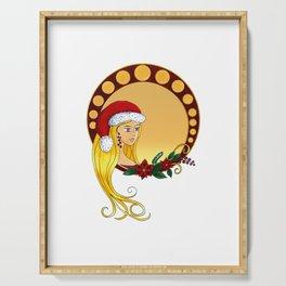Lady Christmas - Art Nouveau style Serving Tray