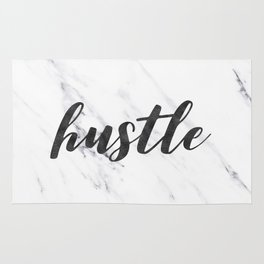 Hustle Text on Marble Black and White Rug
