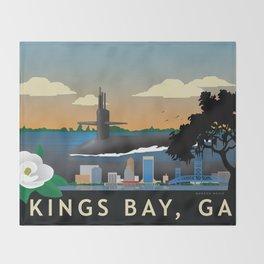 Kings Bay, GA - Retro Submarine Travel Poster Throw Blanket