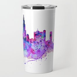 Chicago Watercolor Skyline 2 Travel Mug