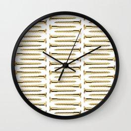 Golden Screws Pattern Poster Wall Clock