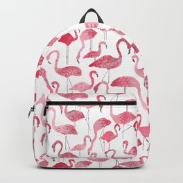 Tropical pink watercolor abstract floral flamingo Backpack