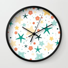 Seastars Pattern - Teal Wall Clock