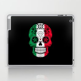 Sugar Skull with Roses and Flag of Italy Laptop & iPad Skin